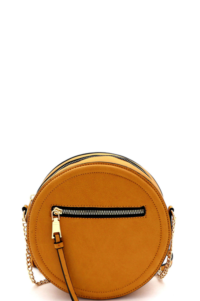 Front Pocket Round Cross Body Shoulder Bag
