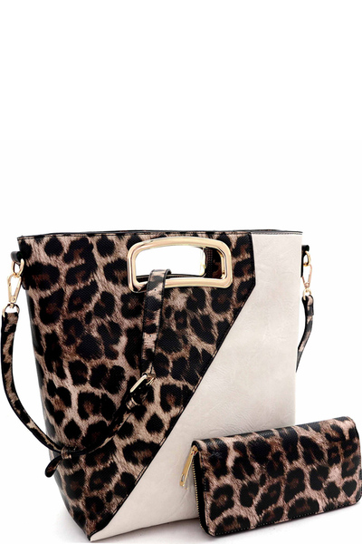 Leopard Cut-Out Metal Handle Satchel Wallet SET
