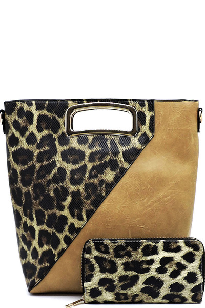 Leopard Colorblock 2-in-1 Satchel