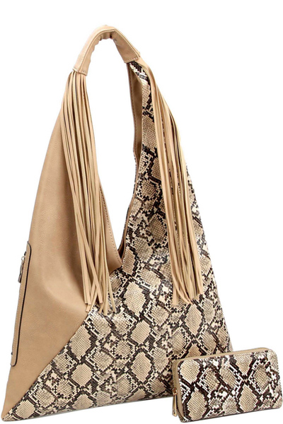 Asymmetrical Snake Print Fringed Hobo Wallet SET