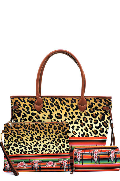 Leopard Cow Animal Flower Printed Canvas Shopper