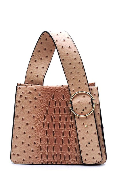 Ostrich Croc Buckle Top Handle Satchel