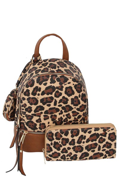 Leopard Colorblock 3-in-1 Convertible Backpack