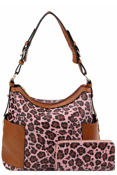 Leopard Print Side Pocket Hobo Wallet SET