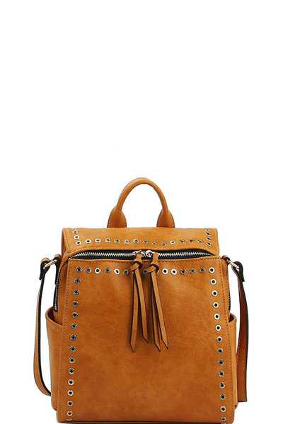 DESIGNER TRENDY RING STUDDED CONVERTIBLE BACKPACK