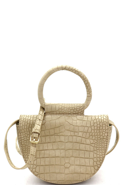 Crocodile Print Round Handle Flap Medium Satchel