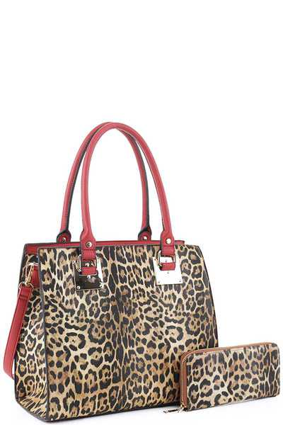 2IN1 FASHION SMOOTH LEOPARD PRINT TOTE BAG WITH MATCHING WALLET SET