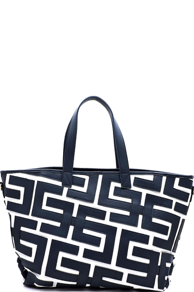 Geometric Pattern Canvas Large Shopper