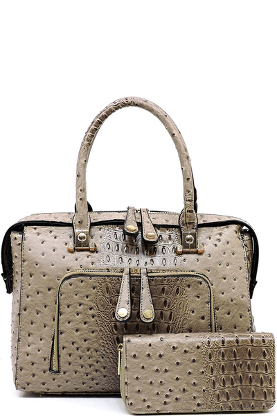 Ostrich Croc 2-in-1 Satchel