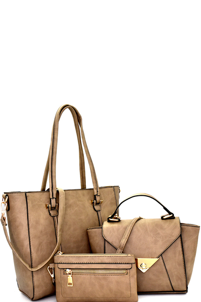 Classy 3 in 1 Shopper Tote Crossbody Value SET