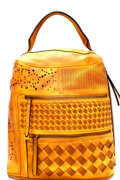 Laser-Cut Detail Woven Rustic Fashion Backpack