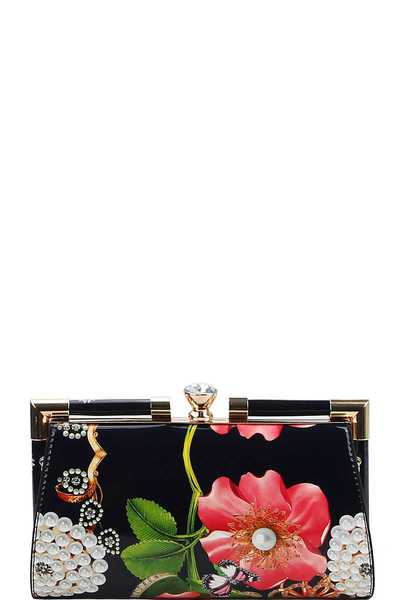 STYLISH FLOWER PRINT STRUCTURED CLUTCH WITH CHAIN