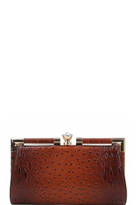CROCO STRUCTURED EVENING PARTY CLUTCH WITH CHAIN