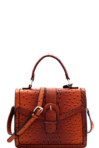 Buckle Accent Ostrich Embossed Flap Satchel