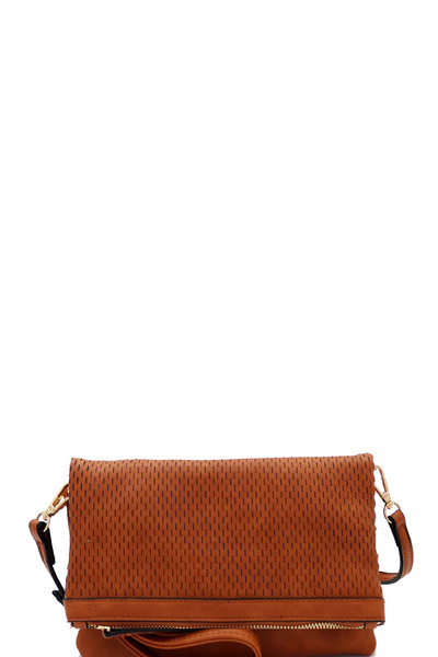Perforated Fold-over Flap 3-Way Clutch Cross Body