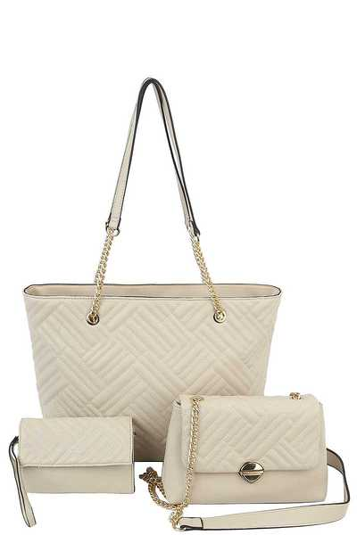 3IN1 MODERN DESIGN FASHION SHOPPER BAG WITH MINI BAG AND CLUTCH SET