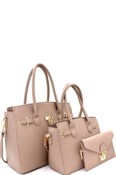 Padlock Accent 3 in 1 Satchel Value SET