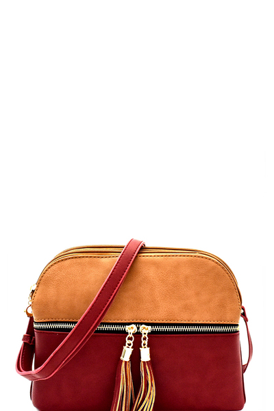 Multi-Compartment Two-Tone Crossbody Messenger