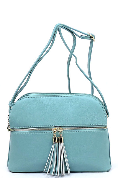 Zip Tassel Multi Compartment Crossbody Bag