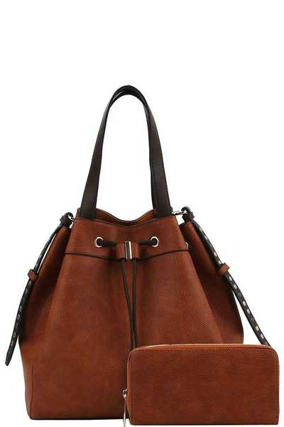 2in1 Fashion Stylish Chic Satchel with Matching Wallet