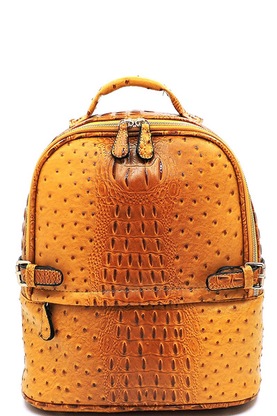 Ostrich Croc Belted Backpack