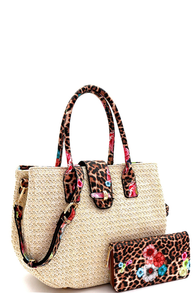 Flower Leopard Print Accent Straw Satchel Wallet