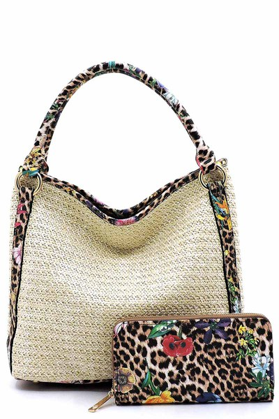 Straw Leopard Flower Trimmed 2-in-1 Shoulder Bag
