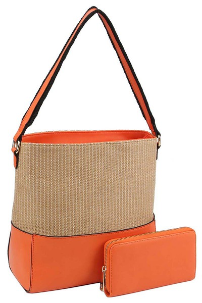 Straw Colorblock 2-in-1 Shoulder Bag