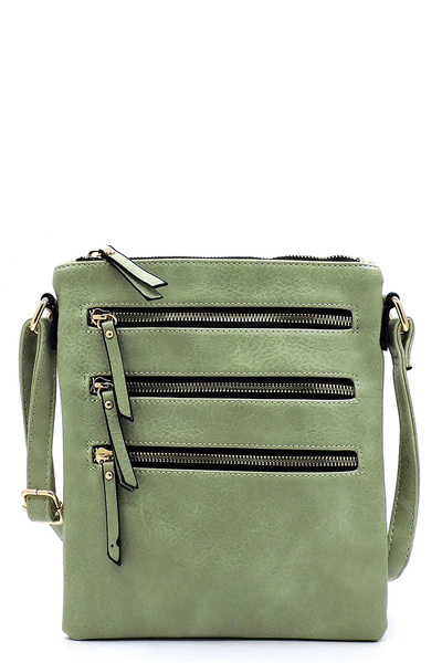 Fashion Multi Zip Pocket Crossbody Bag