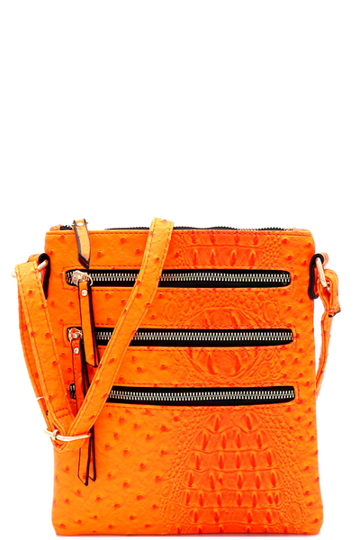 Ostrich Print Embossed Multi Zipper Pocket Cross Body