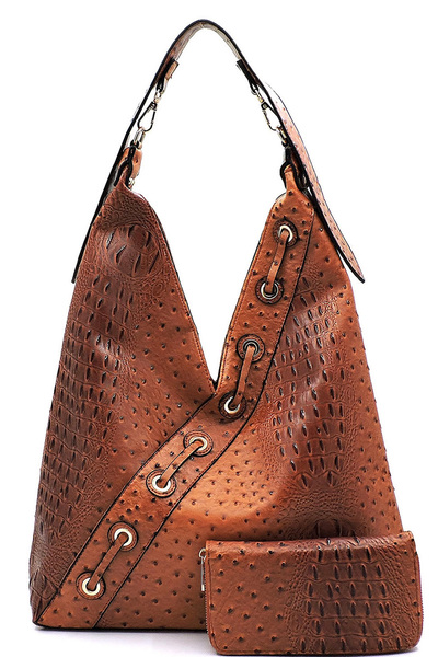 Ostrich Croc 2-in-1 Shoulder Bag Hobo