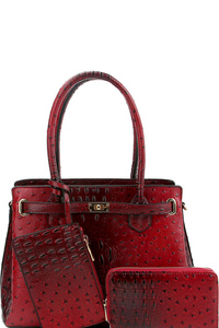 Ostrich Print Multi-Compartment 3 in 1 Satchel Wallet SET