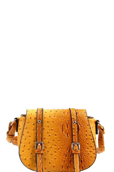 Buckle Accent Ostrich Embossed Saddle Shoulder Bag