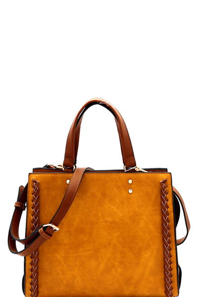 Braid Accent Two-Tone Structured Satchel