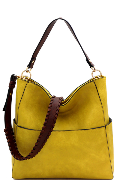 Fashion Shoulder Bag with Whipstitched Strap