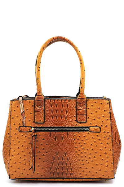 Ostrich Croc Multi Compartment Satchel