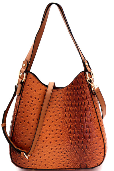 Multi-Compartment Ostrich Print 2-Way Hobo