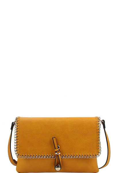 DESIGNER FASHION CHAINED CROSSBODY CLUTCH WITH LONG STRAP