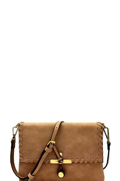 Knot Accent Whipstitched Flap Cross Body