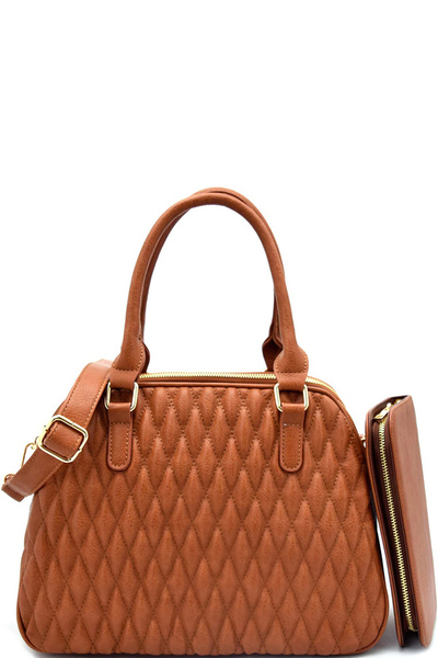 Diamond Quilted Multi Compartment Satchel With Matching Wallet