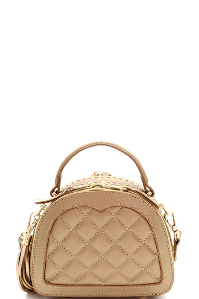 Stud Accent Quilted 2-Way Medium Satchel Shoulder Bag