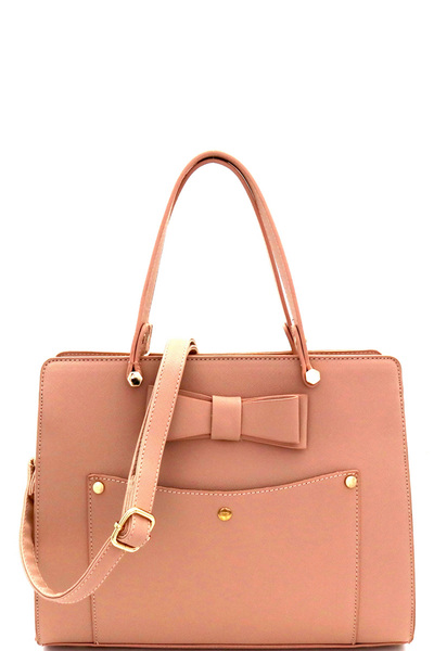 Bow Accent Structured 2-Way Satchel