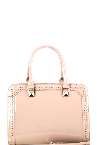 Studded Patent Double-Compartment Satchel