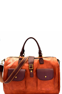 Pocket Accent Two-Tone Weekender Duffel Bag
