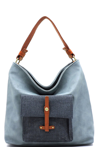 Colorblock Front Pocket Shoulder Bag Hobo