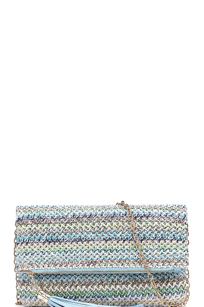 Tassel Accent Woven Straw Fold-Over Clutch