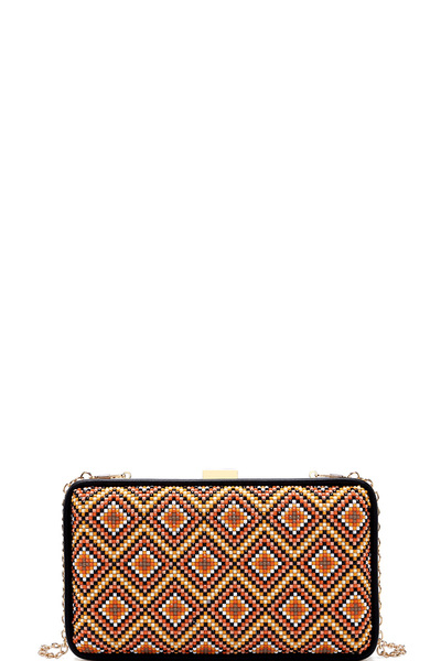 Beaded Aztec Pattern Hard Frame Evening Clutch