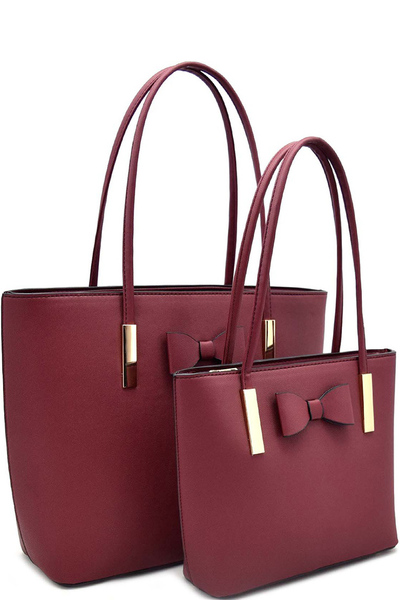 Bow Accent 2 In 1 Matching Shopper Tote