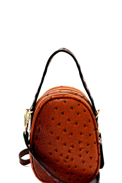 Ostrich Embossed Compartment Round Shoulder Bag