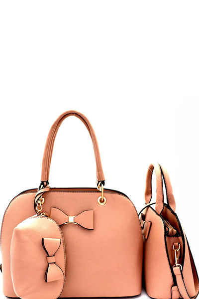 Bow Accent 3 in 1 Twin Dome Satchel Value SET